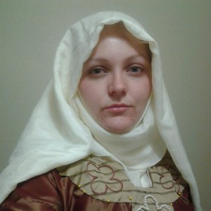 Angharat modeling the dress, with yoke pinned in